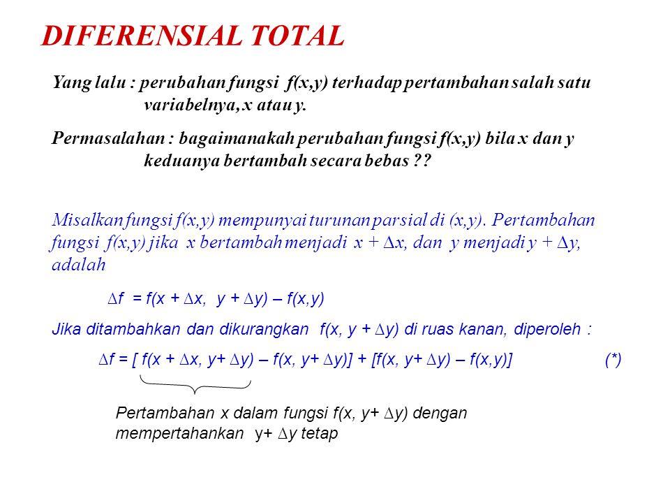 DIFERENSIAL TOTAL Yang lalu : perubahan fungsi f(x,y) terhadap pertambahan salah satu variabelnya, x atau y. Permasalahan : bagaimanakah perubahan fun