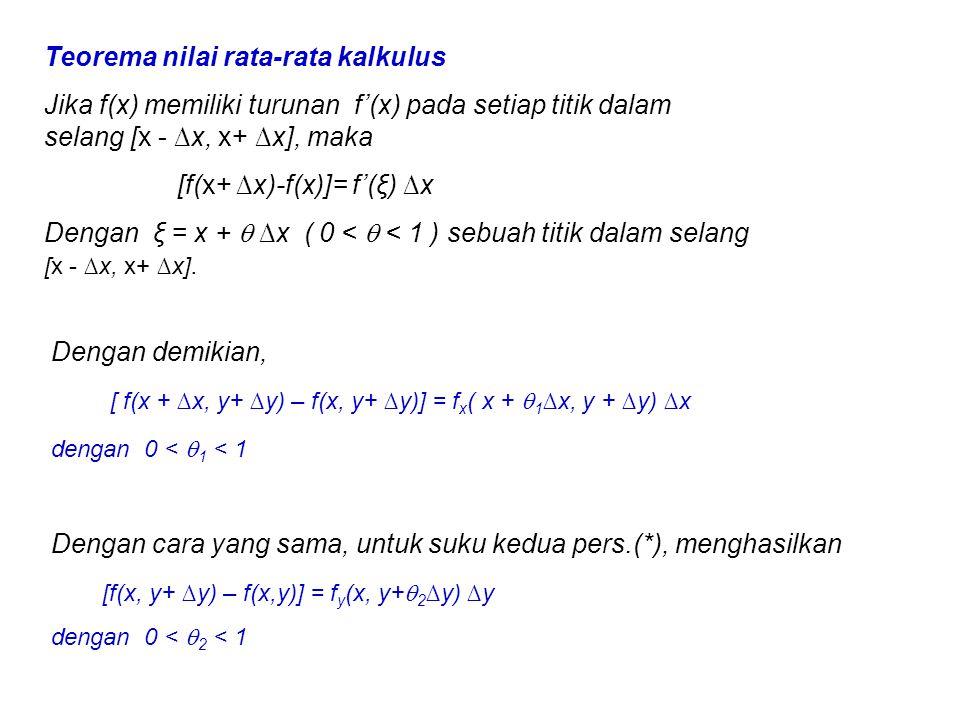 Teorema nilai rata-rata kalkulus Jika f(x) memiliki turunan f'(x) pada setiap titik dalam selang [x - ∆x, x+ ∆x], maka [f(x+ ∆x)-f(x)]= f'(ξ) ∆x Denga