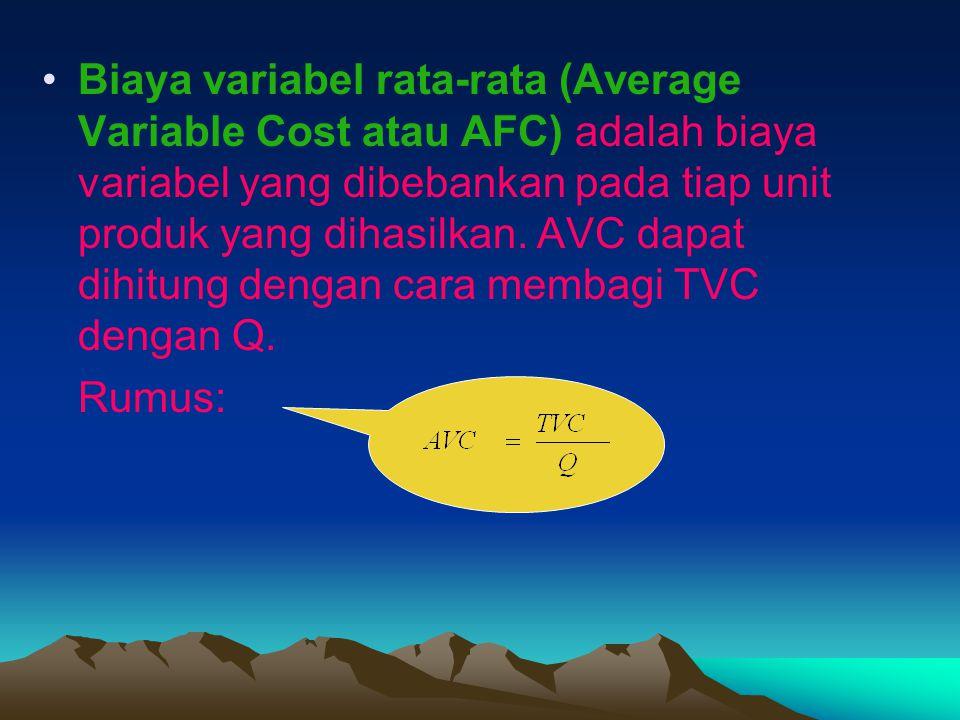 Biaya variabel rata-rata (Average Variable Cost atau AFC) adalah biaya variabel yang dibebankan pada tiap unit produk yang dihasilkan. AVC dapat dihit