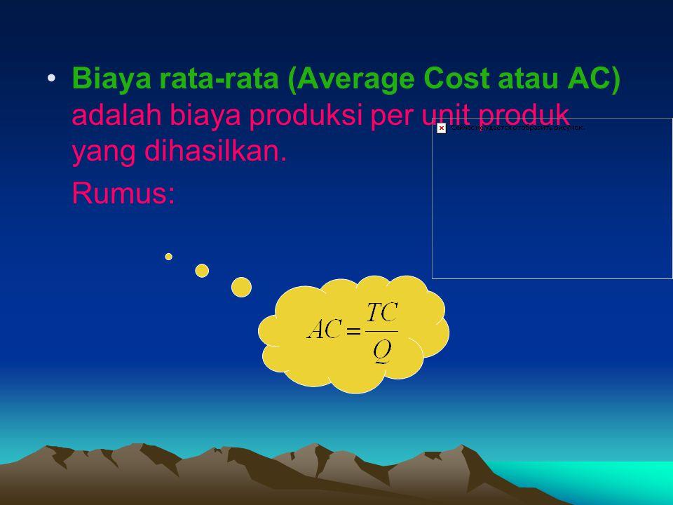 Biaya rata-rata (Average Cost atau AC) adalah biaya produksi per unit produk yang dihasilkan. Rumus:
