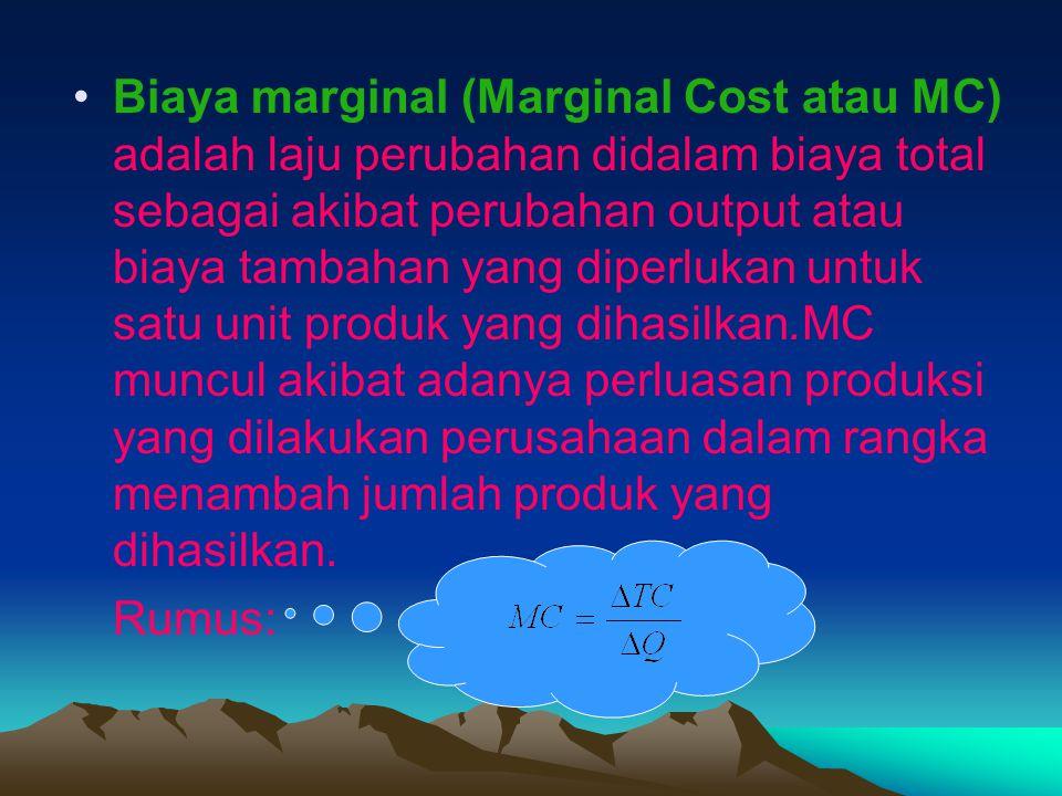 Biaya marginal (Marginal Cost atau MC) adalah laju perubahan didalam biaya total sebagai akibat perubahan output atau biaya tambahan yang diperlukan u