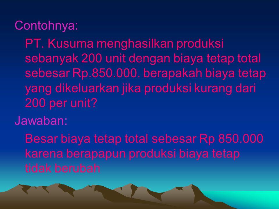 Contohnya: PT. Kusuma menghasilkan produksi sebanyak 200 unit dengan biaya tetap total sebesar Rp.850.000. berapakah biaya tetap yang dikeluarkan jika