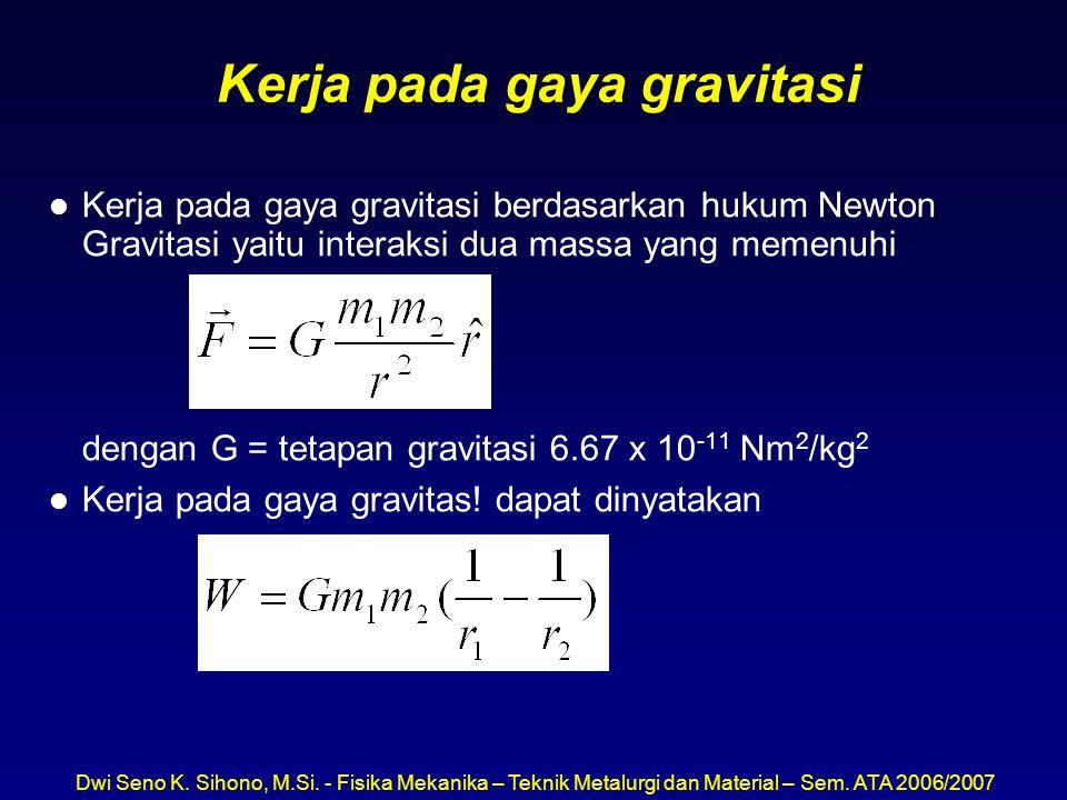 Dwi Seno K. Sihono, M.Si. - Fisika Mekanika – Teknik Metalurgi dan Material – Sem. ATA 2006/2007 Kerja pada gaya gravitasi l Kerja pada gaya gravitasi