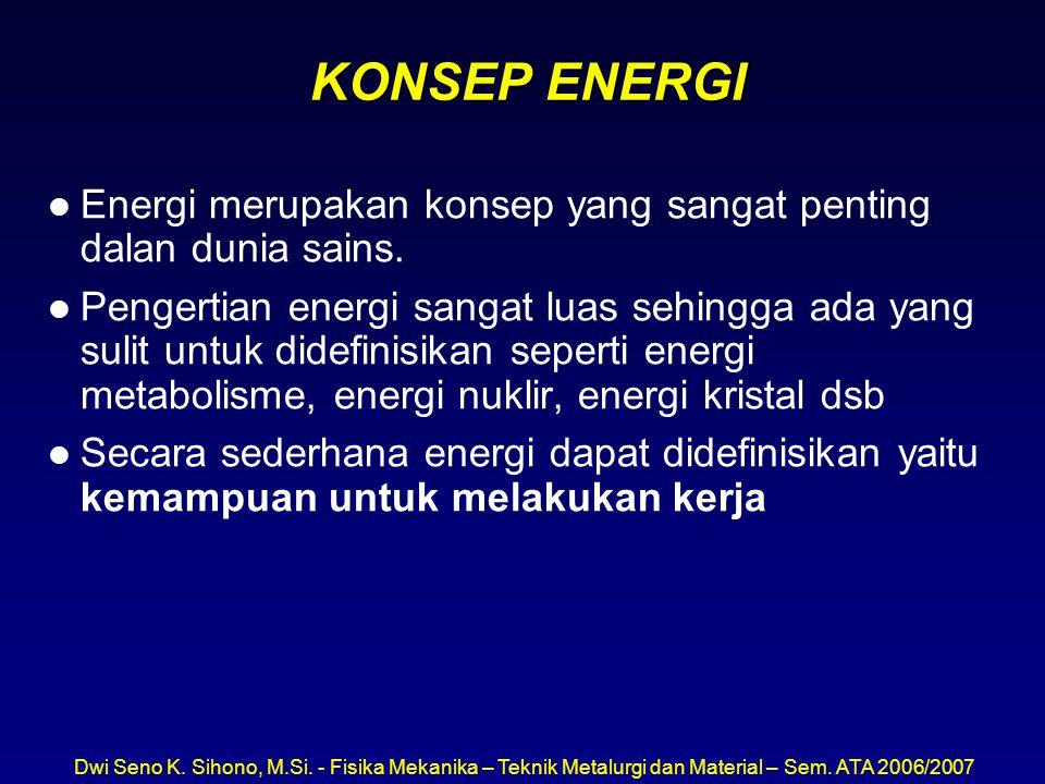 Dwi Seno K. Sihono, M.Si. - Fisika Mekanika – Teknik Metalurgi dan Material – Sem. ATA 2006/2007 KONSEP ENERGI l Energi merupakan konsep yang sangat p