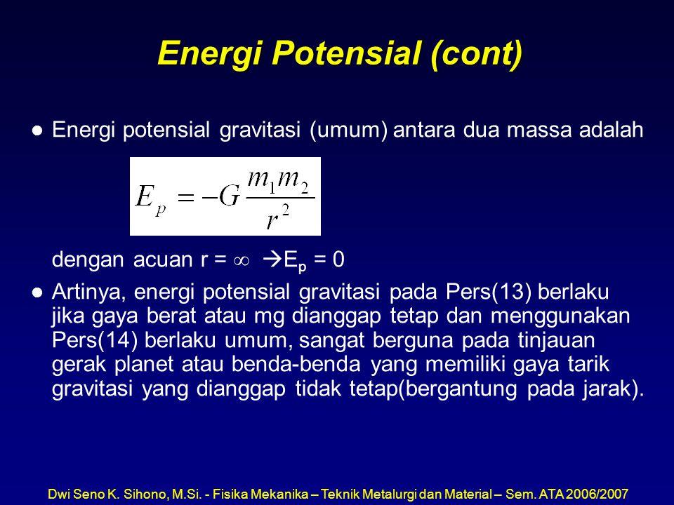 Dwi Seno K. Sihono, M.Si. - Fisika Mekanika – Teknik Metalurgi dan Material – Sem. ATA 2006/2007 Energi Potensial (cont) l Energi potensial gravitasi