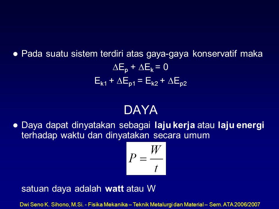 Dwi Seno K. Sihono, M.Si. - Fisika Mekanika – Teknik Metalurgi dan Material – Sem. ATA 2006/2007 l Pada suatu sistem terdiri atas gaya-gaya konservati