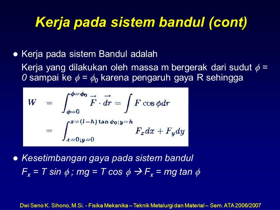 Dwi Seno K. Sihono, M.Si. - Fisika Mekanika – Teknik Metalurgi dan Material – Sem. ATA 2006/2007 Kerja pada sistem bandul (cont) l Kerja pada sistem B