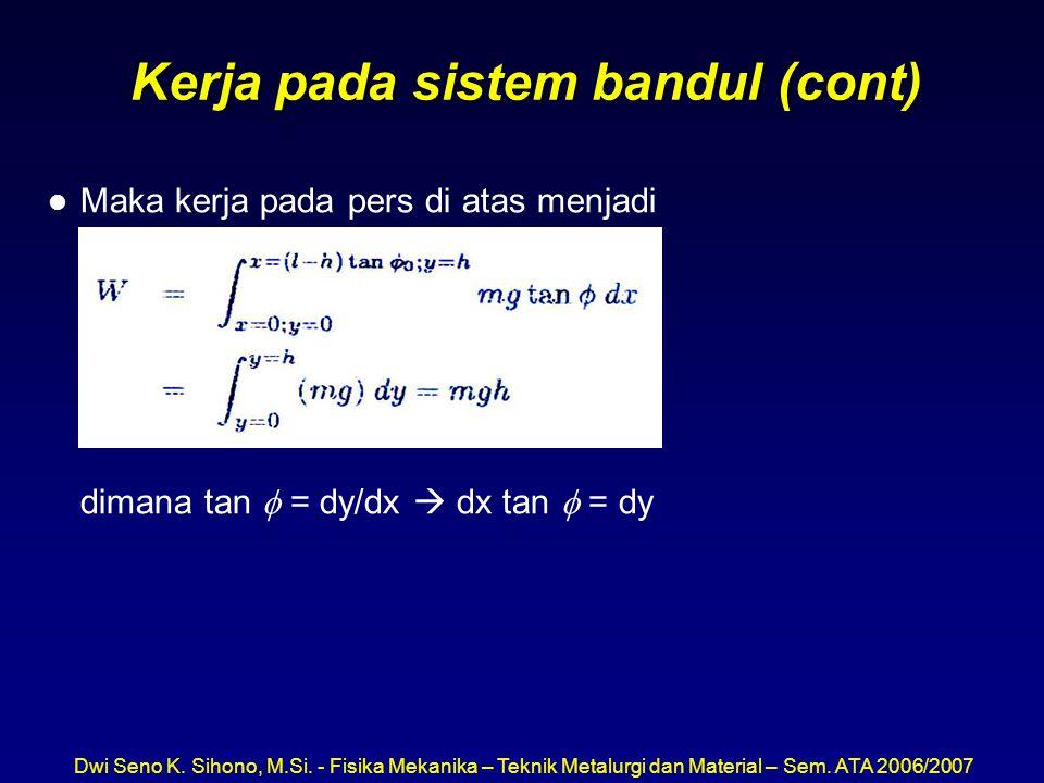 Dwi Seno K. Sihono, M.Si. - Fisika Mekanika – Teknik Metalurgi dan Material – Sem. ATA 2006/2007 Kerja pada sistem bandul (cont) l Maka kerja pada per
