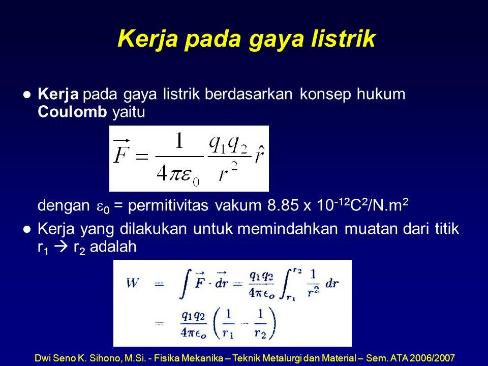 Dwi Seno K. Sihono, M.Si. - Fisika Mekanika – Teknik Metalurgi dan Material – Sem. ATA 2006/2007 Kerja pada gaya listrik l Kerja pada gaya listrik ber