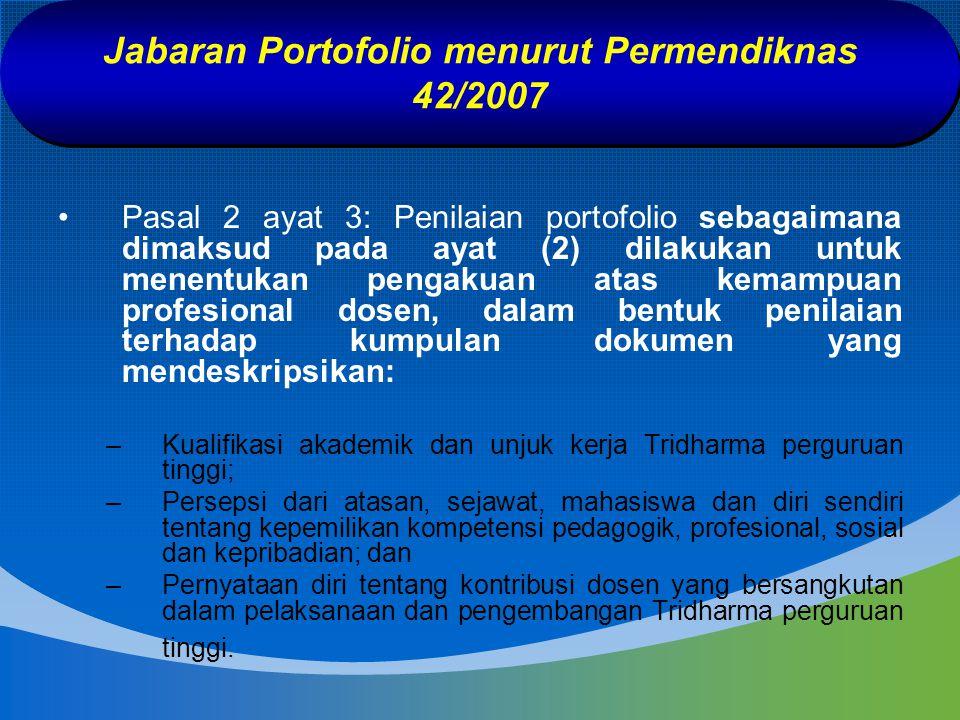 Jabaran Portofolio menurut Permendiknas 42/2007 Pasal 2 ayat 3: Penilaian portofolio sebagaimana dimaksud pada ayat (2) dilakukan untuk menentukan pen