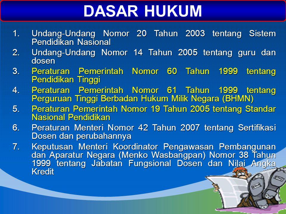 NEXT DASAR HUKUM 1.Undang-Undang Nomor 20 Tahun 2003 tentang Sistem Pendidikan Nasional 2.Undang-Undang Nomor 14 Tahun 2005 tentang guru dan dosen 3.P