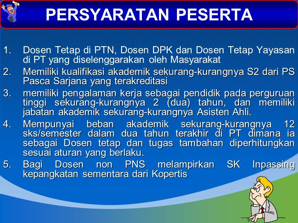 1.Dosen Tetap di PTN, Dosen DPK dan Dosen Tetap Yayasan di PT yang diselenggarakan oleh Masyarakat 2.Memiliki kualifikasi akademik sekurang-kurangnya