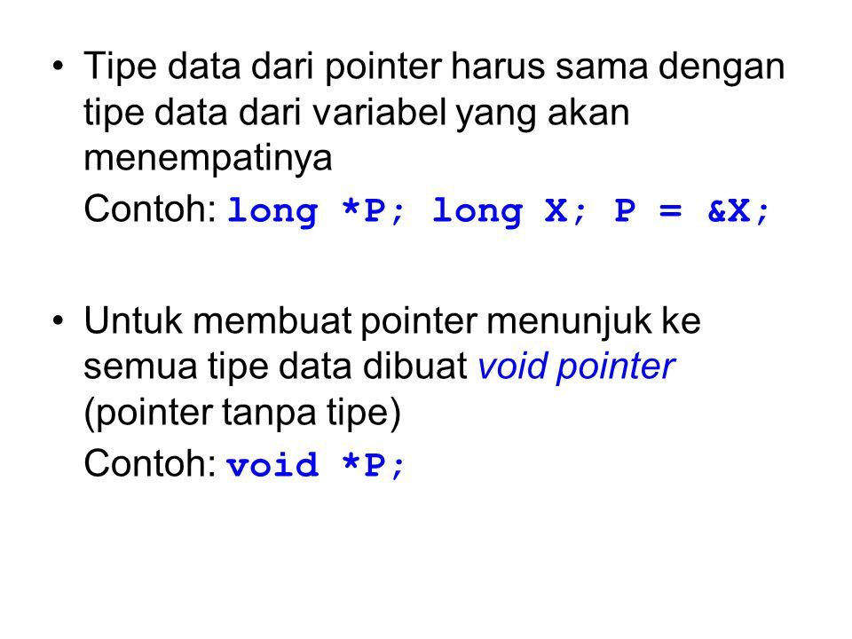 Tipe data dari pointer harus sama dengan tipe data dari variabel yang akan menempatinya Contoh: long *P; long X; P = &X; Untuk membuat pointer menunju