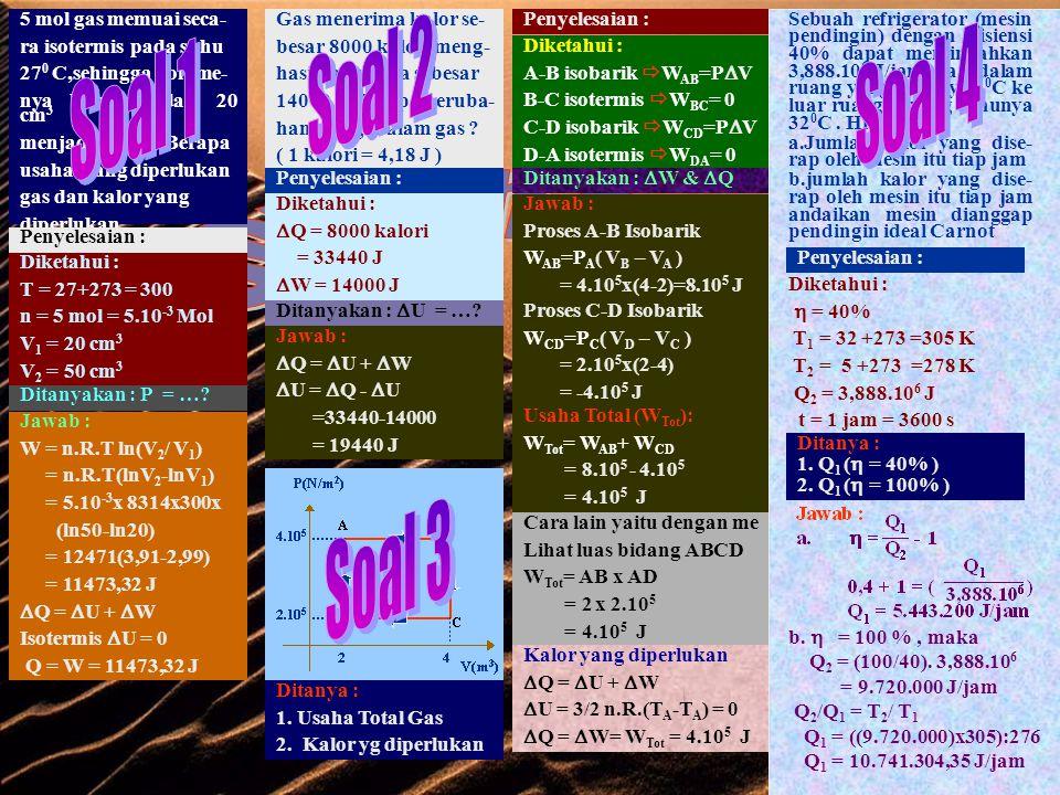 A C B PROSES A-B-C-A  1 SIKLUS A B C D SIKLUS CARNOT PROSES ISOTERMIS PROSES ADIABATIK Q 1 /T 1 Q 2 /T 2 Usaha yang dilakukan gas  Q =  U +  W Karena awal dan akhir proses suhunya sama maka  U = 1,5 nR  T = 1,5 nR (T A -T A ) = 0  Q =  W Usaha yang dilakukan gas  Q =  U +  W  U = 0  W =  Q W = Q 1 – Q 2 Tidak mungkin membuat mesin yang bekerja dalam siklus, menerima kalor dari sebuah sumber (reservoar) dan mengubah kalor itu seluruhnya menjadi energi/usaha Tidak mungkin membuat mesin yang bekerja dalam suatu siklus, mengambil kalor dari sumber(reservoar) yang mempunyai suhu rendah dan memberikannya kepada sumber yang mempunyai suhu tinggi, tanpa memerlukan usaha dari luar