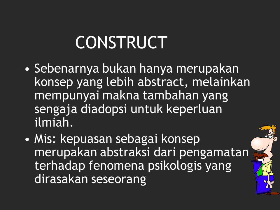 CONSTRUCT Sebenarnya bukan hanya merupakan konsep yang lebih abstract, melainkan mempunyai makna tambahan yang sengaja diadopsi untuk keperluan ilmiah