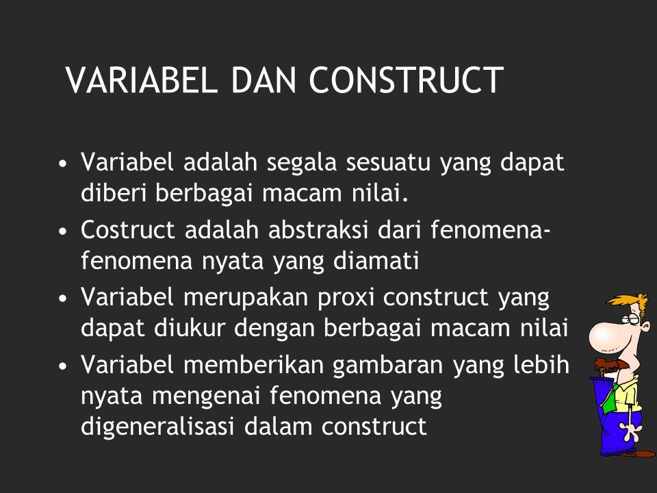 VARIABEL DAN CONSTRUCT Variabel adalah segala sesuatu yang dapat diberi berbagai macam nilai. Costruct adalah abstraksi dari fenomena- fenomena nyata