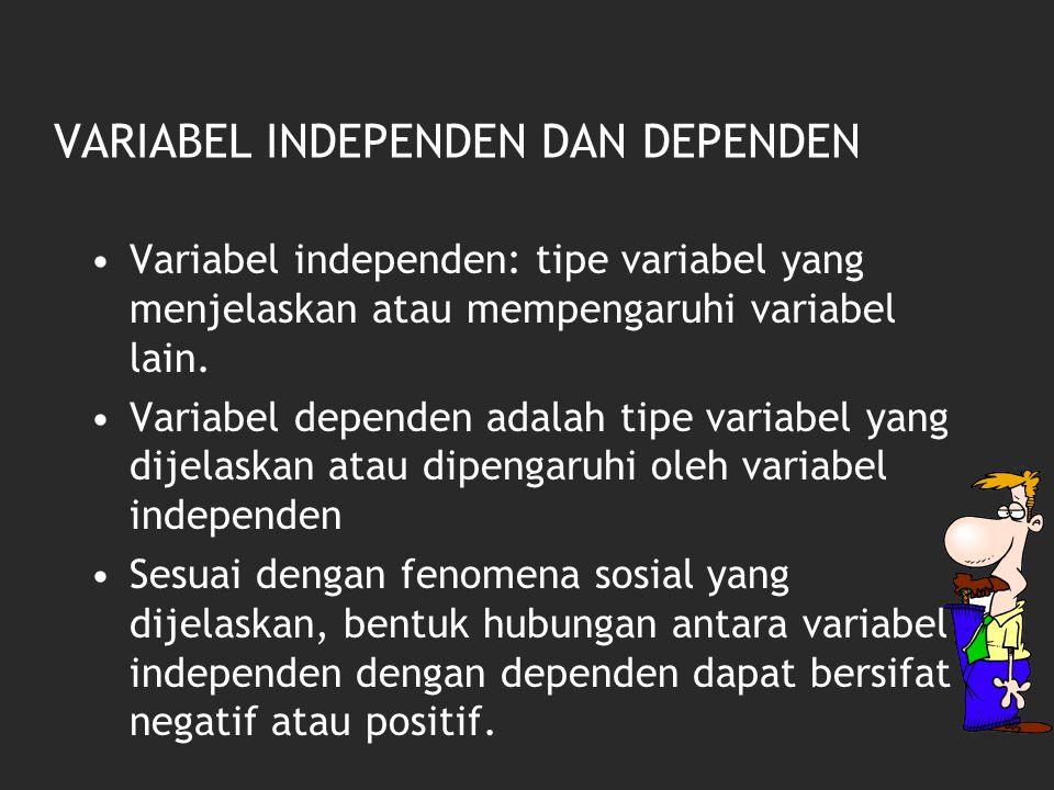 VARIABEL INDEPENDEN DAN DEPENDEN Variabel independen: tipe variabel yang menjelaskan atau mempengaruhi variabel lain. Variabel dependen adalah tipe va