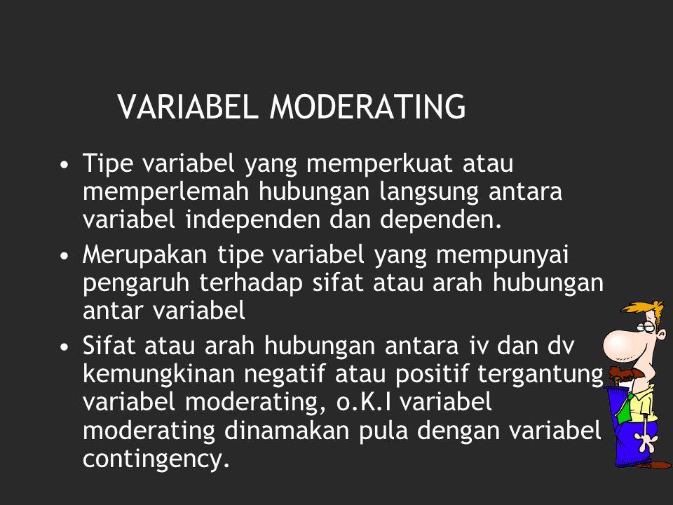 VARIABEL MODERATING Tipe variabel yang memperkuat atau memperlemah hubungan langsung antara variabel independen dan dependen. Merupakan tipe variabel