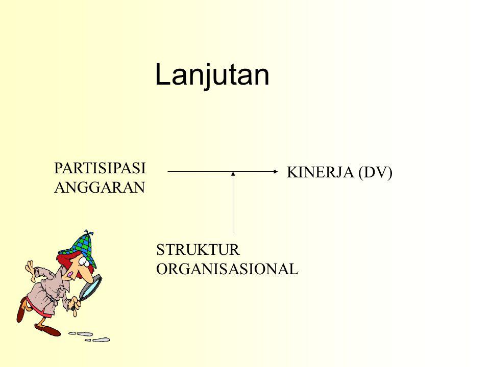 PARTISIPASI ANGGARAN KINERJA (DV) STRUKTUR ORGANISASIONAL Lanjutan