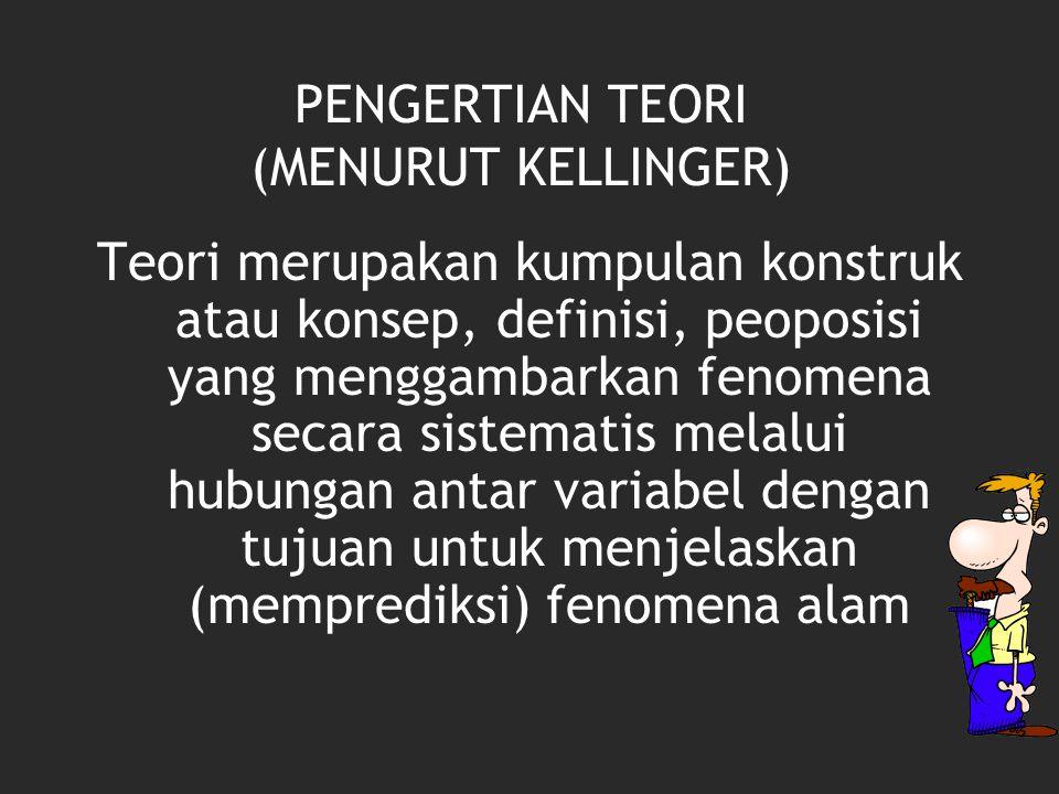 PENGERTIAN TEORI (MENURUT KELLINGER) Teori merupakan kumpulan konstruk atau konsep, definisi, peoposisi yang menggambarkan fenomena secara sistematis