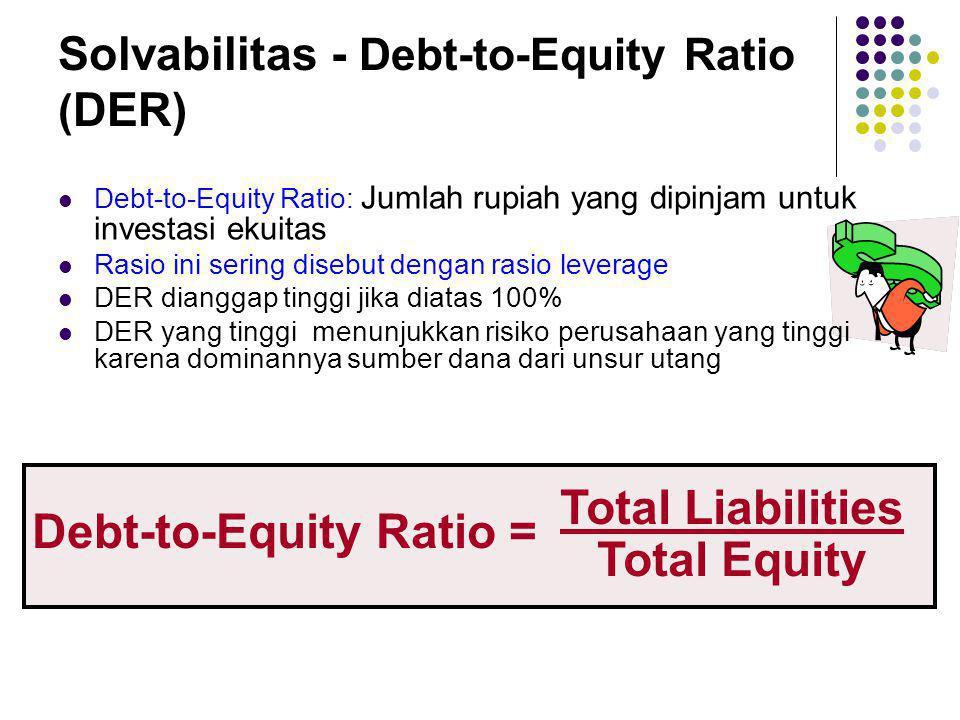 Solvabilitas - Debt-to-Equity Ratio ( DER) Debt-to-Equity Ratio = Total Liabilities Total Equity Debt-to-Equity Ratio: Jumlah rupiah yang dipinjam unt