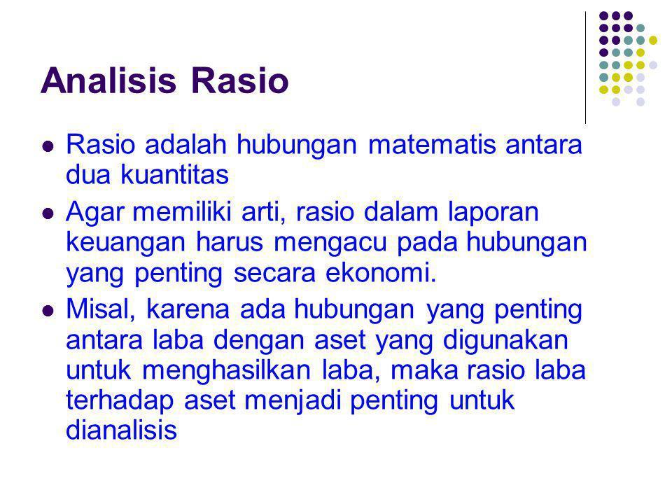 Analisis Rasio Rasio adalah hubungan matematis antara dua kuantitas Agar memiliki arti, rasio dalam laporan keuangan harus mengacu pada hubungan yang