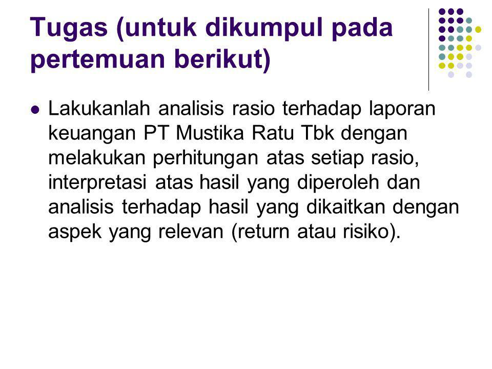 Tugas (untuk dikumpul pada pertemuan berikut) Lakukanlah analisis rasio terhadap laporan keuangan PT Mustika Ratu Tbk dengan melakukan perhitungan ata