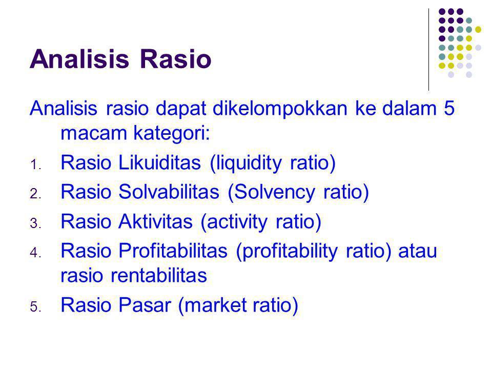 Rasio Likuiditas Rasio Likuiditas adalah rasio yang mengukur kemampuan perusahaan memenuhi kewajiban jangka pendeknya Ada 2 macam rasio likuiditas yaitu rasio lancar (current ratio) dan rasio quick (quick ratio/acid test ratio).