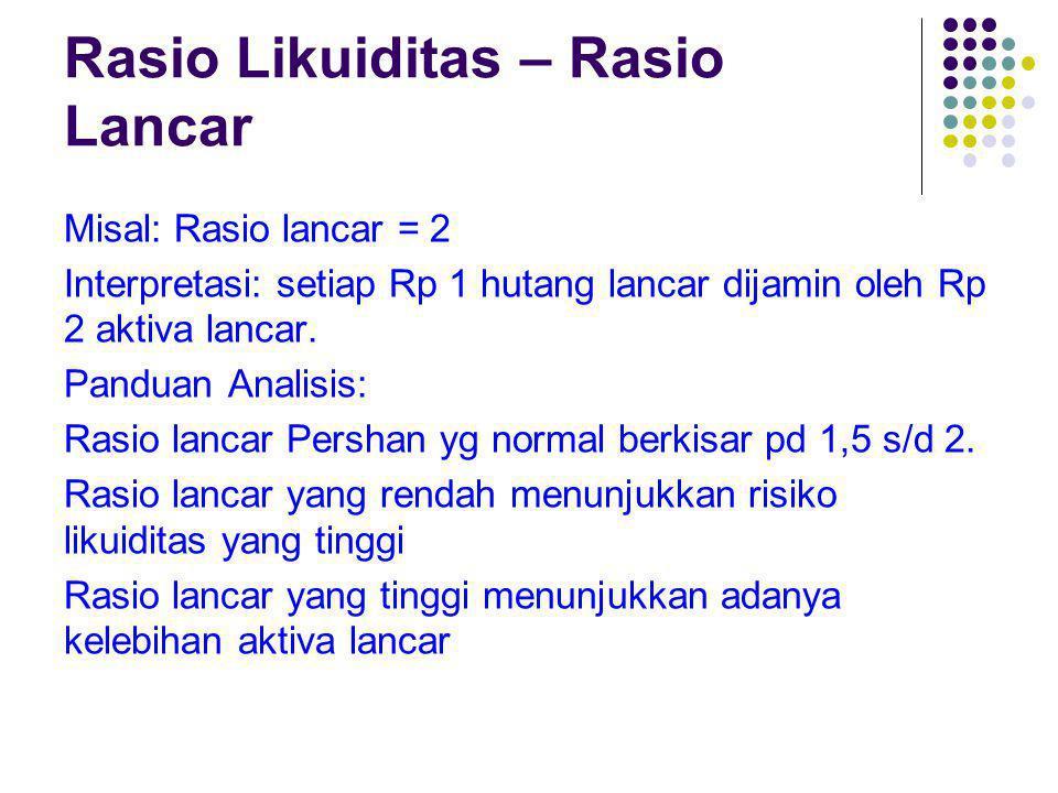 Rasio Likuiditas – Rasio Lancar Misal: Rasio lancar = 2 Interpretasi: setiap Rp 1 hutang lancar dijamin oleh Rp 2 aktiva lancar. Panduan Analisis: Ras