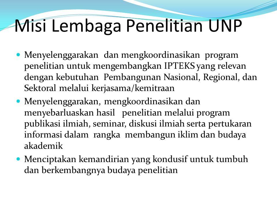 Misi Lembaga Penelitian UNP Menyelenggarakan dan mengkoordinasikan program penelitian untuk mengembangkan IPTEKS yang relevan dengan kebutuhan Pembang