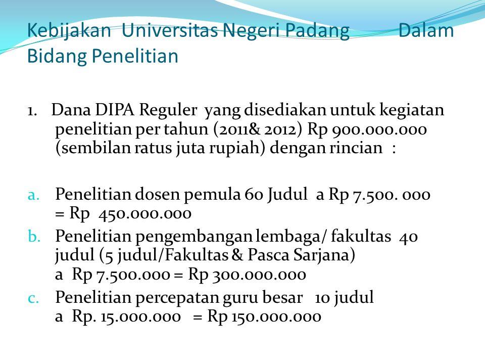 Kebijakan Universitas Negeri Padang Dalam Bidang Penelitian 1. Dana DIPA Reguler yang disediakan untuk kegiatan penelitian per tahun (2011& 2012) Rp 9