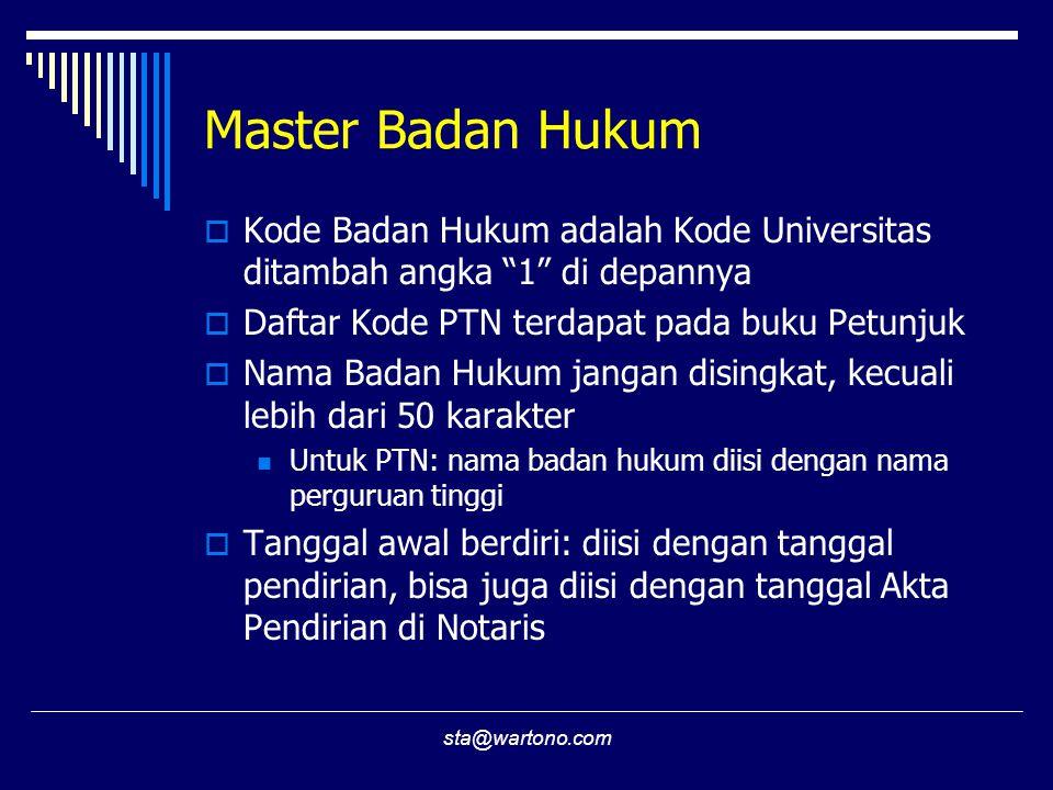 """sta@wartono.com Master Badan Hukum  Kode Badan Hukum adalah Kode Universitas ditambah angka """"1"""" di depannya  Daftar Kode PTN terdapat pada buku Petu"""