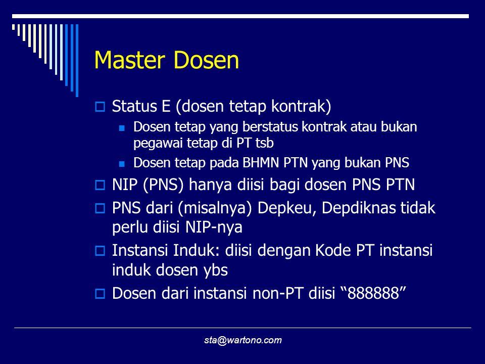 sta@wartono.com Master Dosen  Status E (dosen tetap kontrak) Dosen tetap yang berstatus kontrak atau bukan pegawai tetap di PT tsb Dosen tetap pada B