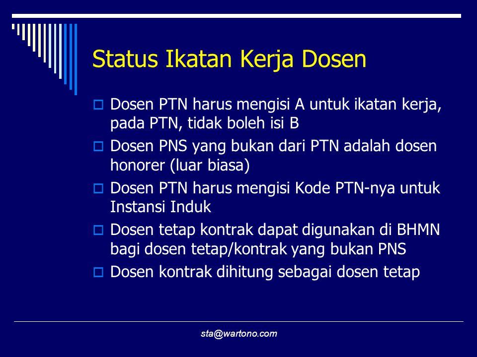 sta@wartono.com Status Ikatan Kerja Dosen  Dosen PTN harus mengisi A untuk ikatan kerja, pada PTN, tidak boleh isi B  Dosen PNS yang bukan dari PTN