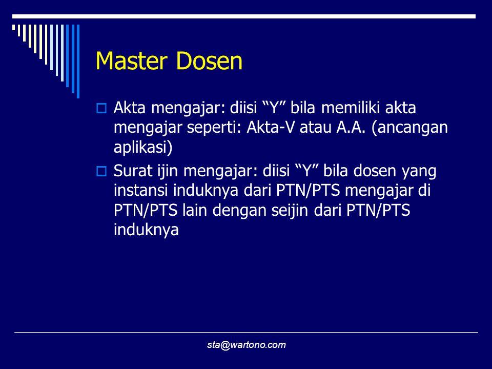 "sta@wartono.com Master Dosen  Akta mengajar: diisi ""Y"" bila memiliki akta mengajar seperti: Akta-V atau A.A. (ancangan aplikasi)  Surat ijin mengaja"
