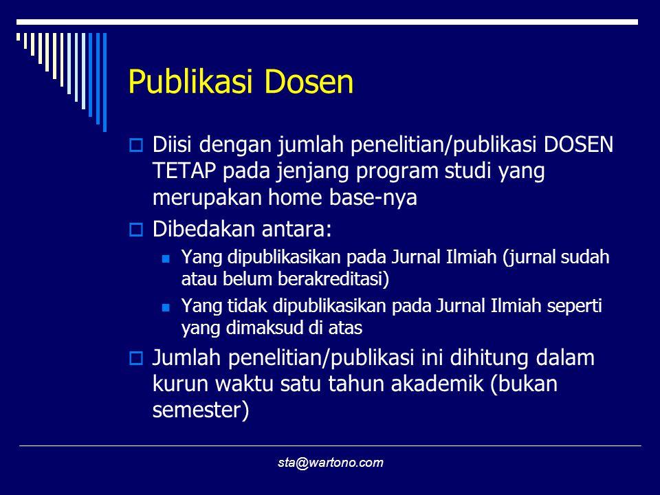 sta@wartono.com Publikasi Dosen  Diisi dengan jumlah penelitian/publikasi DOSEN TETAP pada jenjang program studi yang merupakan home base-nya  Dibed