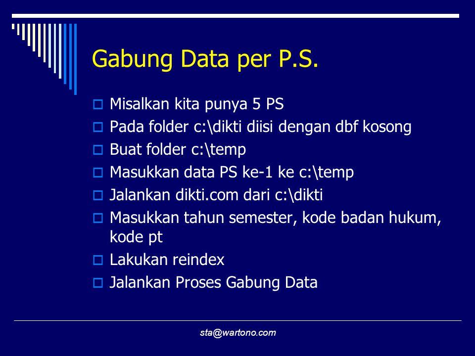 sta@wartono.com Gabung Data per P.S.  Misalkan kita punya 5 PS  Pada folder c:\dikti diisi dengan dbf kosong  Buat folder c:\temp  Masukkan data P