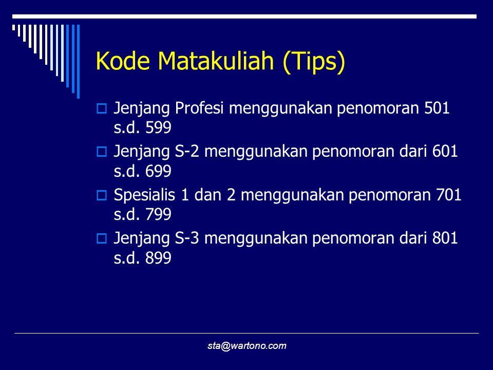 sta@wartono.com Kode Matakuliah (Tips)  Jenjang Profesi menggunakan penomoran 501 s.d. 599  Jenjang S-2 menggunakan penomoran dari 601 s.d. 699  Sp