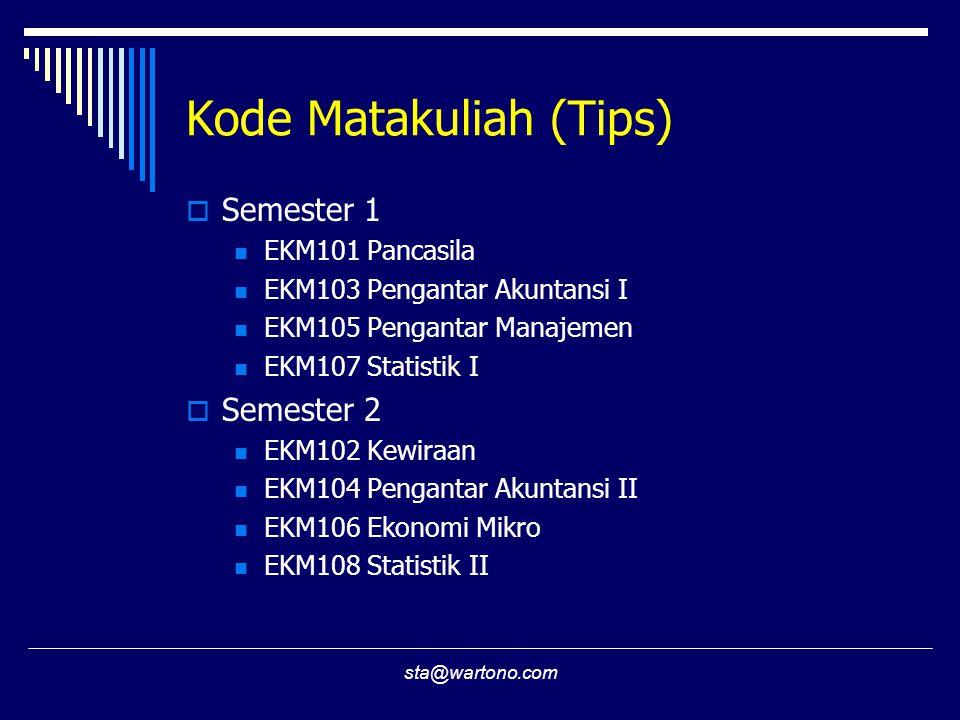 sta@wartono.com Kode Matakuliah (Tips)  Semester 1 EKM101 Pancasila EKM103 Pengantar Akuntansi I EKM105 Pengantar Manajemen EKM107 Statistik I  Seme