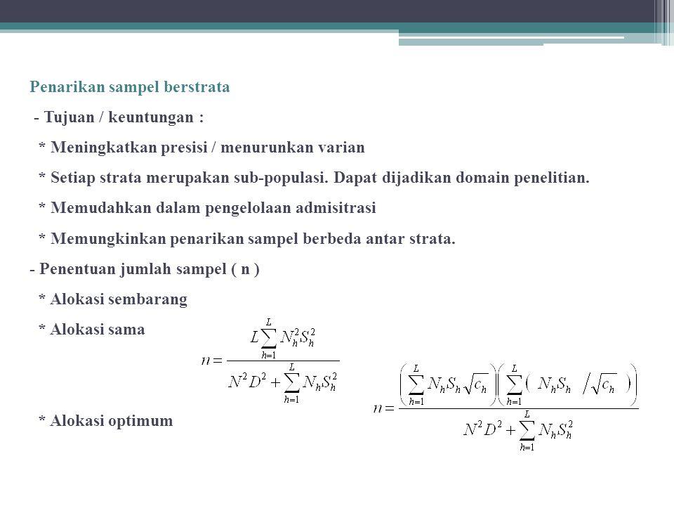 Penarikan sampel berstrata - Tujuan / keuntungan : * Meningkatkan presisi / menurunkan varian * Setiap strata merupakan sub-populasi.
