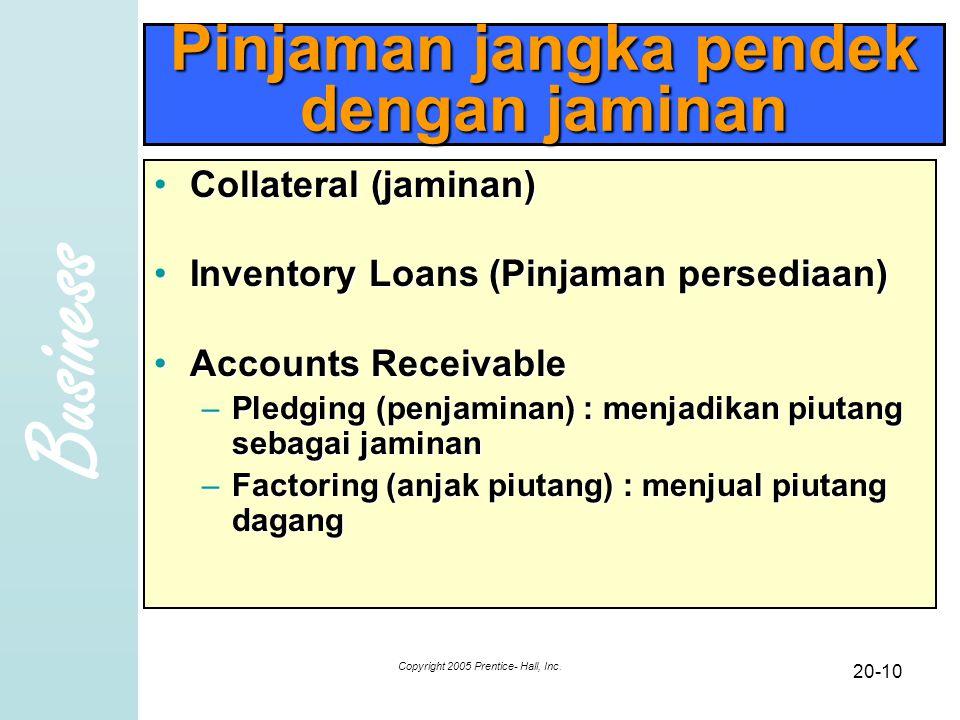 Business Copyright 2005 Prentice- Hall, Inc. 20-10 Pinjaman jangka pendek dengan jaminan Collateral (jaminan)Collateral (jaminan) Inventory Loans (Pin