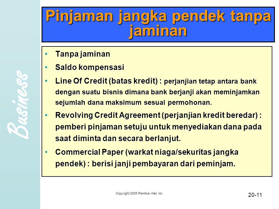 Business Copyright 2005 Prentice- Hall, Inc. 20-11 Pinjaman jangka pendek tanpa jaminan Tanpa jaminanTanpa jaminan Saldo kompensasiSaldo kompensasi Li