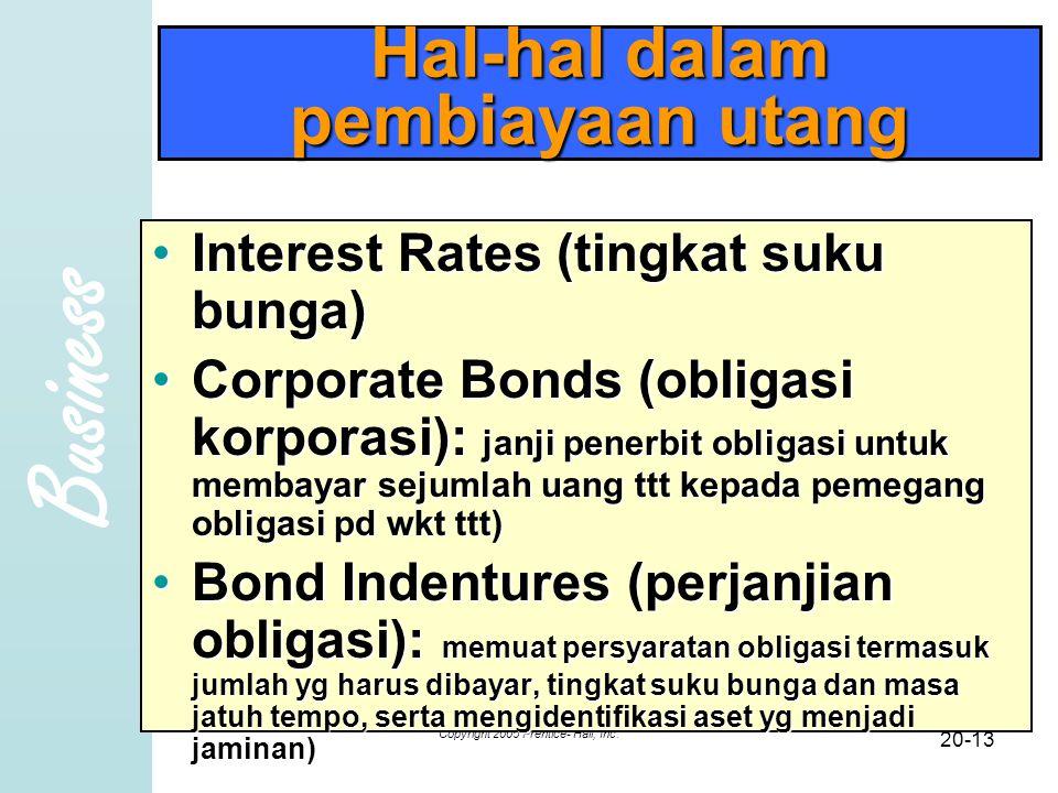 Business Copyright 2005 Prentice- Hall, Inc. 20-13 Hal-hal dalam pembiayaan utang Interest Rates (tingkat suku bunga)Interest Rates (tingkat suku bung