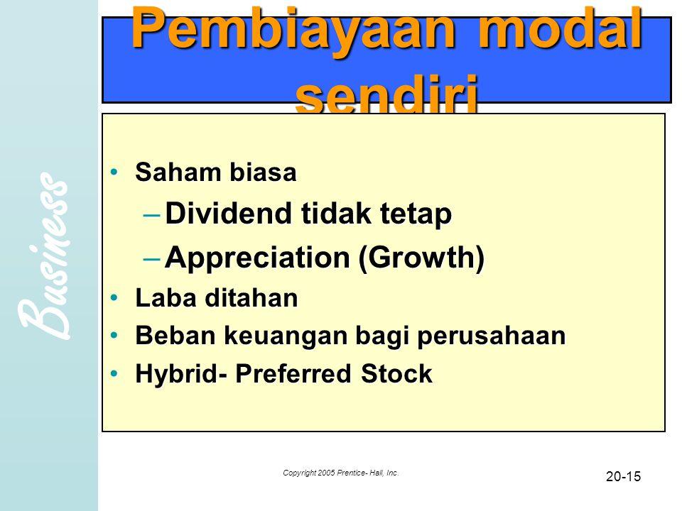 Business Copyright 2005 Prentice- Hall, Inc. 20-15 Pembiayaan modal sendiri Saham biasaSaham biasa –Dividend tidak tetap –Appreciation (Growth) Laba d