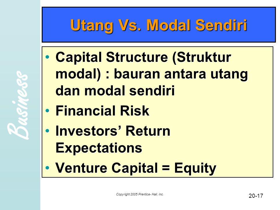 Business Copyright 2005 Prentice- Hall, Inc. 20-17 Utang Vs. Modal Sendiri Capital Structure (Struktur modal) : bauran antara utang dan modal sendiriC