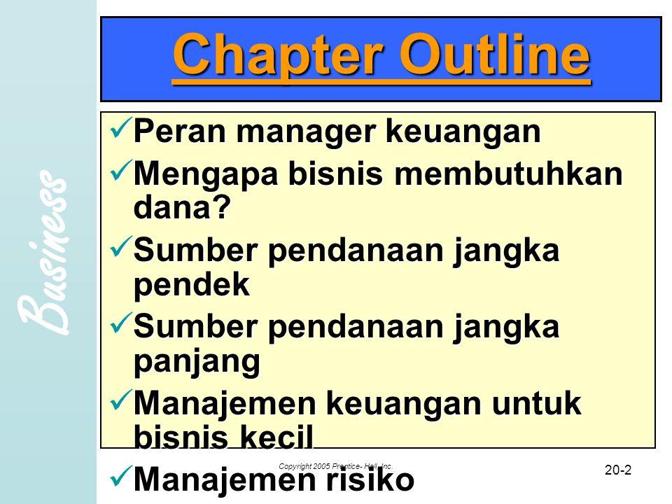 Business Copyright 2005 Prentice- Hall, Inc. 20-2 Chapter Outline Peran manager keuangan Peran manager keuangan Mengapa bisnis membutuhkan dana? Menga