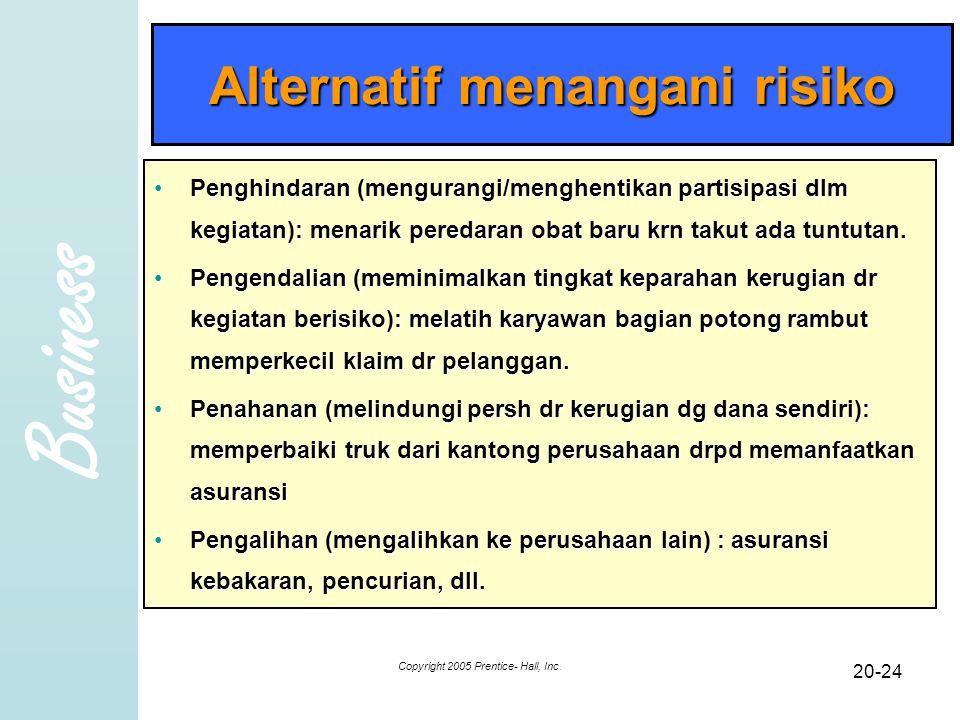 Business Copyright 2005 Prentice- Hall, Inc. 20-24 Alternatif menangani risiko Penghindaran (mengurangi/menghentikan partisipasi dlm kegiatan): menari