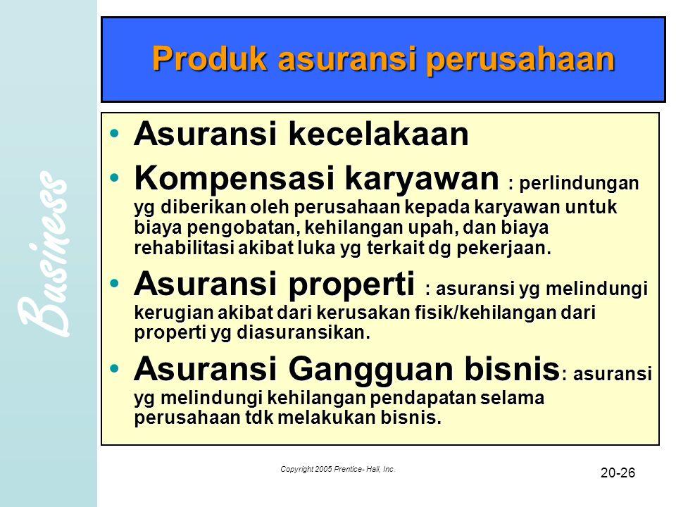 Business Copyright 2005 Prentice- Hall, Inc. 20-26 Produk asuransi perusahaan Asuransi kecelakaanAsuransi kecelakaan Kompensasi karyawan : perlindunga