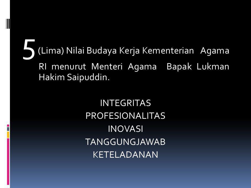 5 (Lima) Nilai Budaya Kerja Kementerian Agama RI menurut Menteri Agama Bapak Lukman Hakim Saipuddin. INTEGRITAS PROFESIONALITAS INOVASI TANGGUNGJAWAB