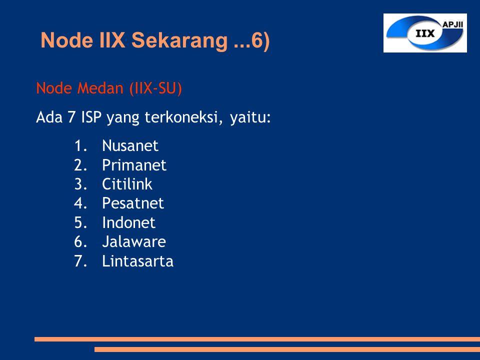 Node Medan (IIX-SU) Ada 7 ISP yang terkoneksi, yaitu: 1.Nusanet 2.Primanet 3.Citilink 4.Pesatnet 5.Indonet 6.Jalaware 7.Lintasarta Node IIX Sekarang...6)